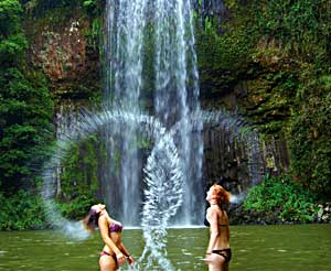 Hair flick at Millaa Millaa falls